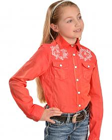 Red Ranch Girls' Pink Horse Embroidered Western Shirt