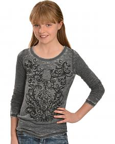 Red Ranch Girls' Long Sleeve Gray Studded Filigree Tee