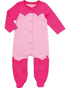 Wrangler Infant Girls' Pink Footed Romper