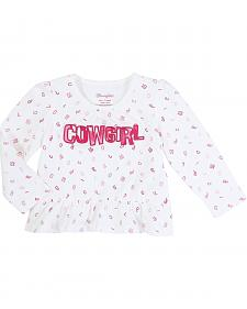 Wrangler Infant Girls' Long Sleeve Cowgirl Peplum Top
