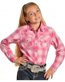 Cumberland Outfitters Girls' Pink Plaid Western Shirt