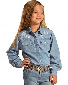 Cumberland Outfitters Girls' Embroidered chambray Western Shirt