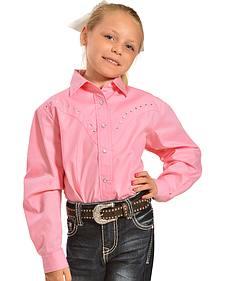 Solid Shirt w.Rhinestone Yokes