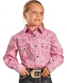 Red Ranch Girls' Paisley Print Shirt with Stitching