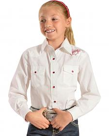 Red Ranch Girls' White Shirt with Hot Pink Horse Rhinestones