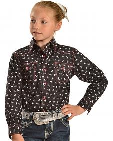 Red Ranch Girls' Black Horse Print Shirt with Pink Stitching
