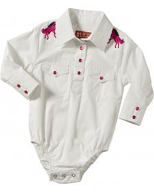 Girls' Long Sleeve Onesie White with Horse Rhinestone Yoke
