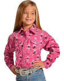 Cowgirl Hardware Toddler Girl's Pink Horse Paisley Western Shirt