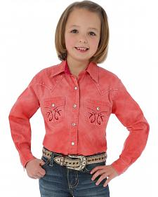 Wrangler Rock47 Girls' Long Sleeve Stud and Embroidered Coral Shirt