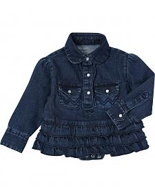 Wrangler Toddler Girls' Denim Bodysuit with Ruffle