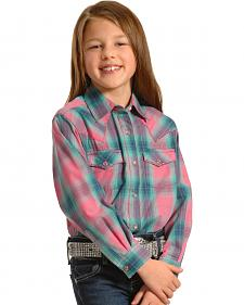 Wrangler Girls' Long Sleeve Pink Plaid Shirt