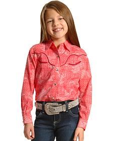 Wrangler Rock 47 Girls' Long Sleeve Horse Print Shirt