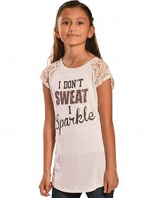 "Petrol Girls' Glitter ""I Don't Sweat I Sparkle"" T-Shirt"