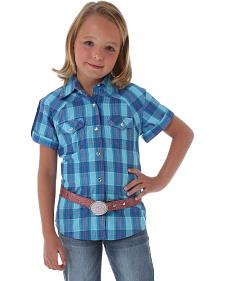 Wrangler Rock 47 Girls' Short Sleeve Plaid Shirt