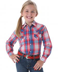 Wrangler Girls' Long Sleeve Red Plaid Western Shirt
