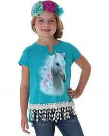 Wrangler Rock 47 Girls' Crocheted Fringe Horse Shirt