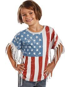 Rock & Roll Cowgirl Girl's Americana Fringe Tee