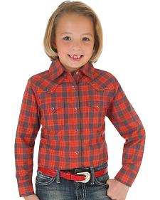 Wrangler Rock 47 Girls' Red Plaid Snap Shirt