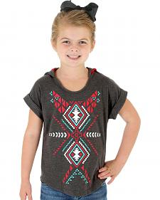 Wrangler Rock 47 Girls' Hooded Aztec Print Tee