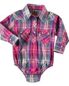 Crazy Cowboy Infant Girls' Pink Plaid Snap Bodysuit