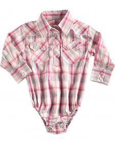 Cowgirl Legend Infant Girls' Pink Plaid Western Snap Bodysuit