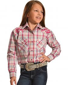 Crazy Cowboy Girls' Pink Plaid Snap Shirt