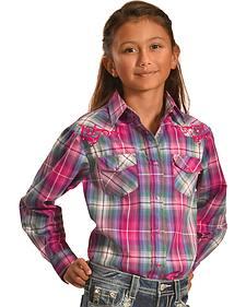 Crazy Cowboy Girls' Western Snap Shirt - 4-6X