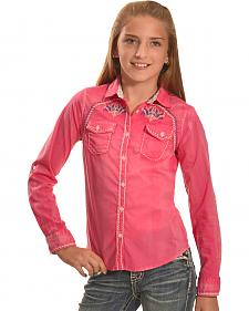 Cowgirl Legend Girls' Pink Wash Embroidered Western Shirt