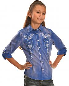 Cowgirl Legend Girls' Denim Wash Embroidered Western Shirt