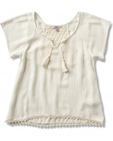 Silver Girls' Crochet Lace Top