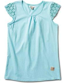 Silver Girls' Crochet Cap Sleeve Top