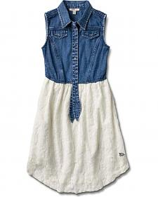 Silver Girls' Denim & Lace Sleeveless Dress
