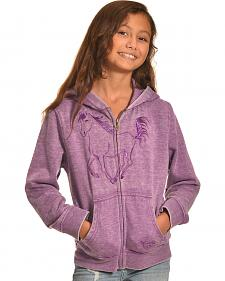 Cowgirl Hardware Girl's Purple Metallic Horse Full Zip Hoodie