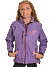 Cowgirl Hardware Girls' Purple Zebra Heart Poly-shell Jacket
