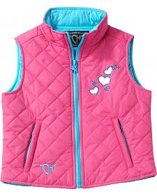 Cowgirl Justice Girls' Toddler Pink Bubble Hearts Quilted Vest