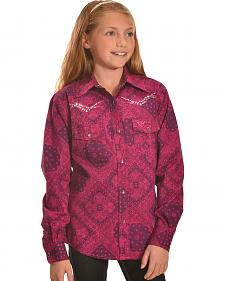 Cowgirl Hardware Girls' Pink Bandana Print Western Shirt
