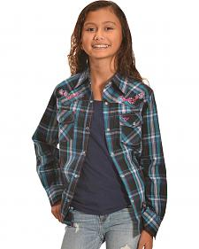 Cowgirl Hardware Girls' Turquoise Plaid Flying Heart Western Shirt