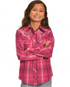 Cowgirl Hardware Girls' Rose Vine Plaid Western Snap Shirt
