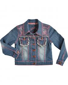 Cowgirl Hardware Girls' Pink Stitched Horse Denim Jacket