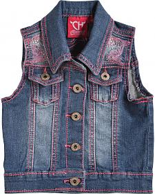 Cowgirl Hardware Girls' Pink Stitched Horse Denim Vest