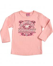 "Cowgirl Hardware Toddler Girls' Pink ""Raised Country"" Long Sleeve T-Shirt"