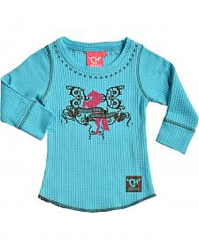 "Cowgirl Hardware Toddler Girls' Turquoise ""American Born"" Waffle Shirt"