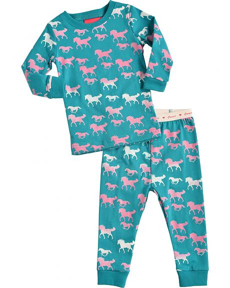 Cowgirl Hardware Infant Girls' Turquoise Horse Print Playset