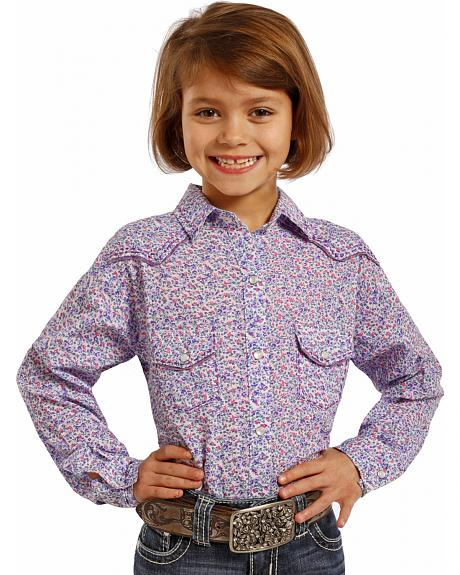 Panhandle Slim Girls' Ditsy Floral Western Shirt