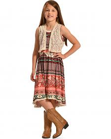 Jody of California Girls' Colorful Aztec Print Lace Dress