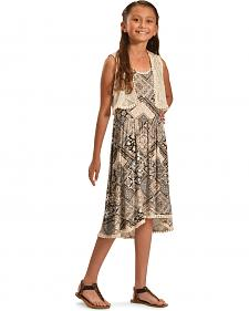 Jody of California Girls' Black Aztec Print Lace Dress