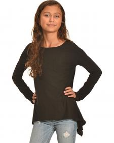 Derek Heart Girls' Solid Black Super Soft Yummy Sharkbite Tunic