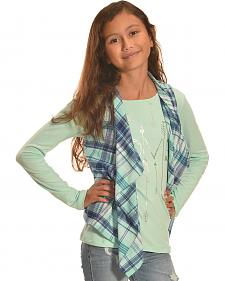 Derek Heart Girl's Plaid Vest and Long Sleeve Tee Combo