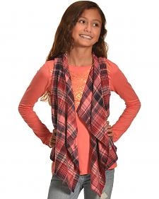 Derek Heart Girl's Coral Plaid Vest and Long Sleeve Tee Combo