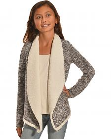 Derek Heart Girls' Open Front Sherpa Lined Cardigan
